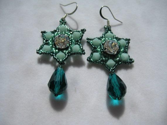 Starry Moonlight Crystal Moonlight 8mm Rhinestone  in Star Shaped Earrings by ME