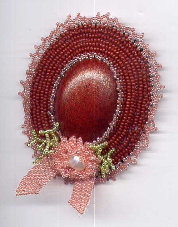 Oval Hat Pin in Brown and Pink with Flower Decoration Seed Beads and Cabochon