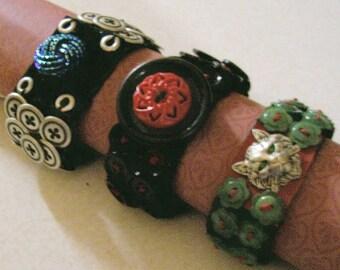 Designer Hand Made Stretcch Button Bracelets  UNIQUE