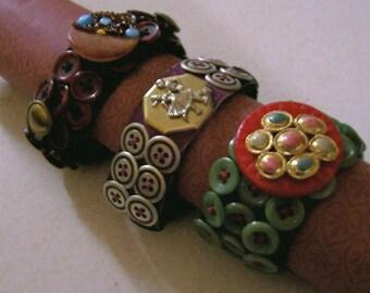 Handmade Designer Bracelets,Stretch,Buttons, UNIQUE