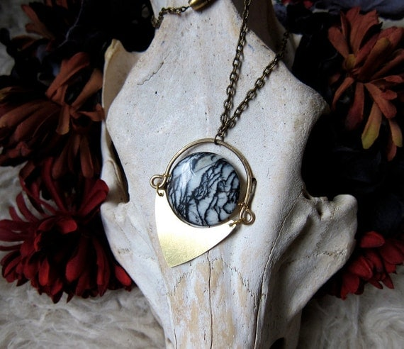 Brass and Picasso Jasper Eye Spinner Necklace