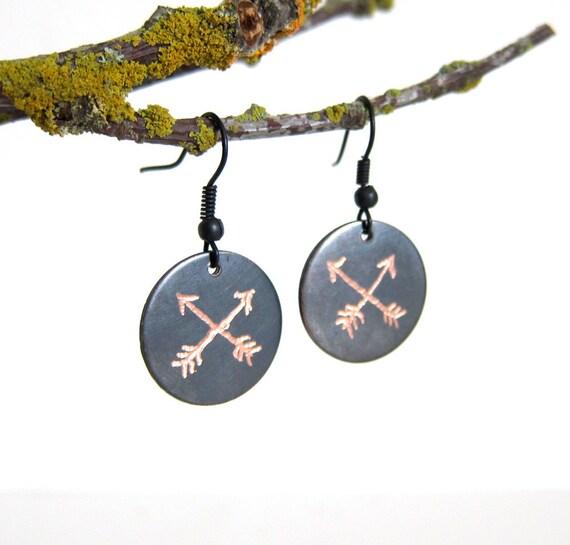 Petite Arrows Egraved Ox Copper Earrings