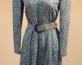 Carolina Herrera Vintage Retro 70s 80s Silk Casual Blue Shimmery Dress and Belt Set Size 6 8 Medium