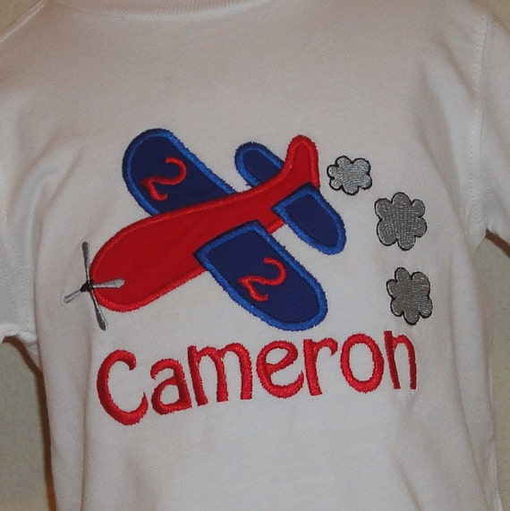Airplane Birthday Number Shirt or Bodysuit Personalized with Name