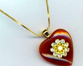 Carnelian Heart Pendant . Swarovski Rondelle. Caramel . Valentine Love Necklace . Statement Heart - Mystic Heart by enchantedbeads on Etsy
