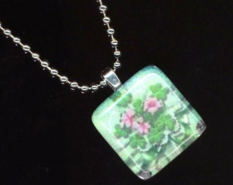 Flower Pendant . Mosaic Tile Glass . Floral Clover Necklace . Saint Patrick's Day Shamrock . Silver Plated - Luck  by enchantedbeads on Etsy