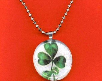Shamrock Mosaic Glass Pendant . Domed Glass . St Patty. Three Leaf Green Clover. Silver Plated- St Patrick 's Luck by enchantedbeads on Etsy