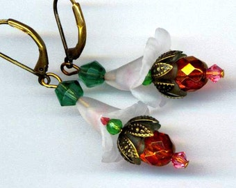 Fuchsia Flower Earrings . Czech Faceted Crystal Flower . Lilac, White, Green . Christmas . Easter - Floral Delight by enchantedbeas on Etsy