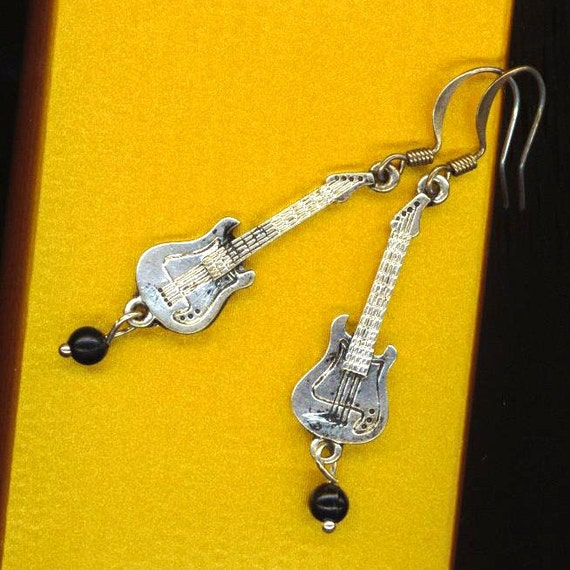 Electric Guitar Earrings . Pierced Earrings . Black Onyx Beads . Music Lover . Musical Instrument - The Guitarist by enchantedbeas on Etsy