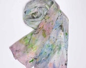 Silk Scarf, hand dyed and painted: Springtime