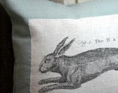 "The Hare 16"" Linen Throw Pillow Cover Pale Aqua"