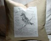 """French Bird 18"""" Cream Linen Throw Pillow Cover"""