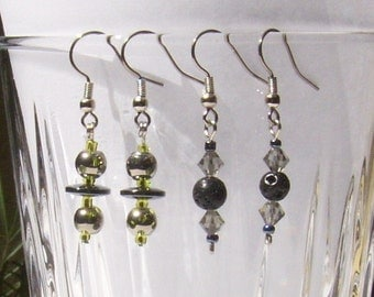 Hematite Lava Rock and Glass Earrings 2 Pairs
