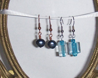 Blue Pearl and Glass Earrings 2 Pairs