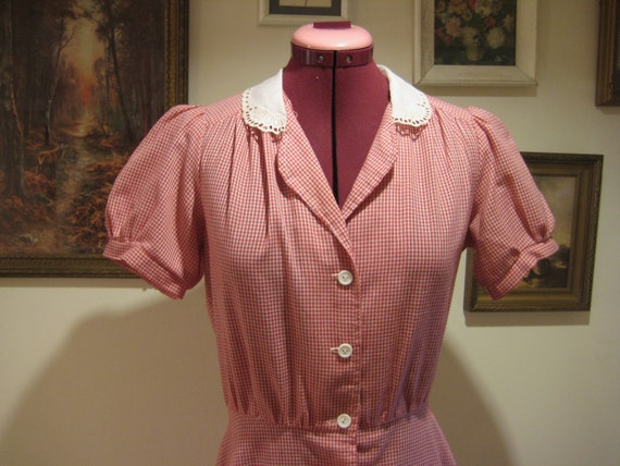 SALE - Vintage 1970s does 30s Gingham Shirtwaist Dress