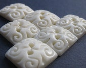Mission Falls White Carved Square Buttons