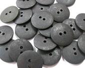 Plain Black Buttons 20mm 24 pieces