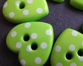 10 Green Dotted Heart Buttons