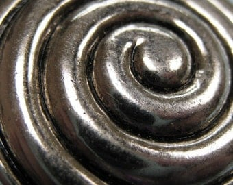 3 Large Silver Spiral Buttons