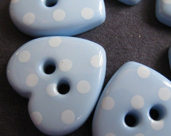10 Blue Dotted Heart Buttons
