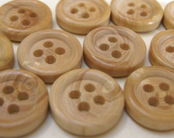 25 Tiny Faux Wood Buttons