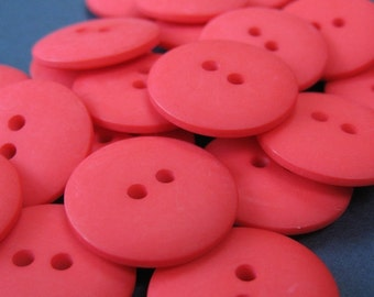 Plain Bright Red Buttons 20mm 24 pieces