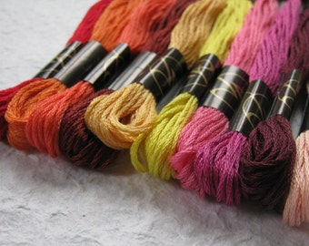 Red Pink Embroidery Threads