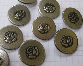 10 Silver Rose Metal Shank Buttons