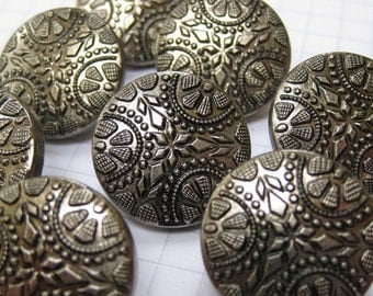 10 Silver Snowflake Buttons