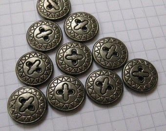 10 Small Flat Patterned Silver Metal Buttons