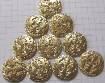 10 Large Flat Embossed Bird Buttons