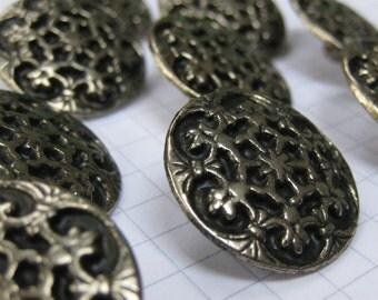 10 Large Metal Filigree Flower Buttons