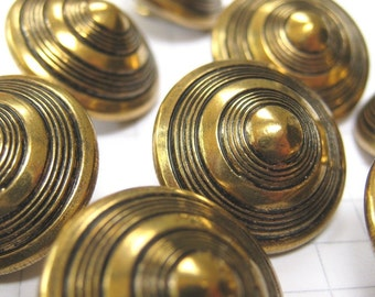 10 Medium Brass Cone Shank Buttons