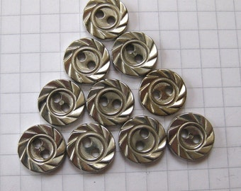 25 Tiny Textured Silver Buttons