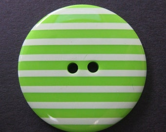 2 Large Candy Striped Green Buttons