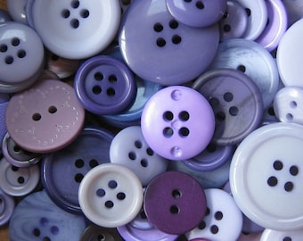 50g Mixed Purple Buttons