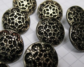 10 Small Metal Filigree Flower Buttons