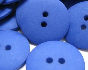 Plain Bright Blue Buttons 20mm 24 pieces