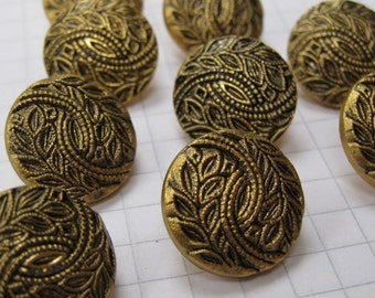 10 Black and Gold Leaf Motif Buttons