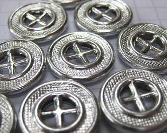 100 Small Silver Wheel Buttons