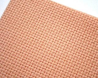 Peach Pink Aida Fabric 14 Count, 12 x 18