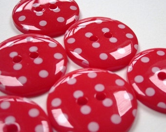 10 Bright Red Polkadot Buttons