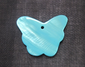 Large Blue Shell Butterfly Shaped Pendant