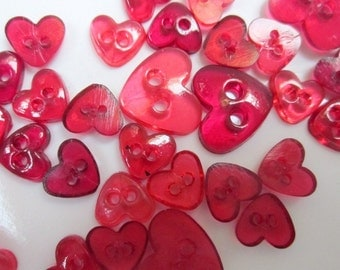 Tiny Transparent Red Heart Buttons