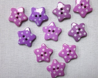 10 Purple Dotted Star Buttons