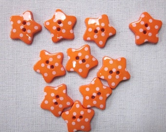 10 Orange Dotted Star Buttons