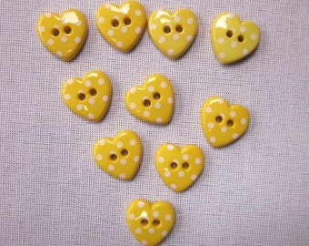 10 Yellow Dotted Heart Buttons