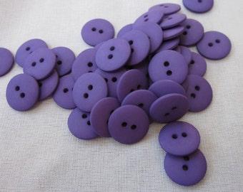 Plain Dark Violet Buttons 18mm 24 pieces