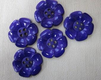 5 Very Big Purple Flower Buttons