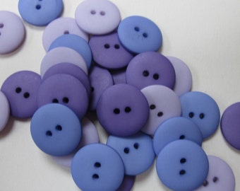 Mixed Plain Purple Lavender Buttons 20mm 30 pieces